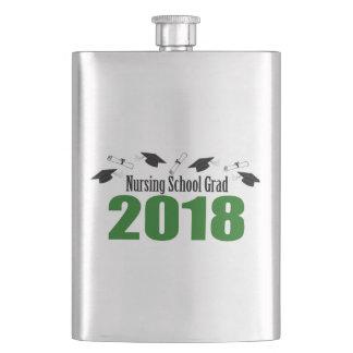 Nursing School Grad 2018 Caps And Diplomas (Green) Hip Flask