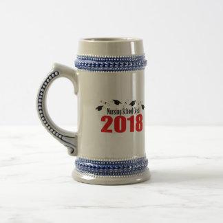 Nursing School Grad 2018 Caps And Diplomas (Red) Beer Stein