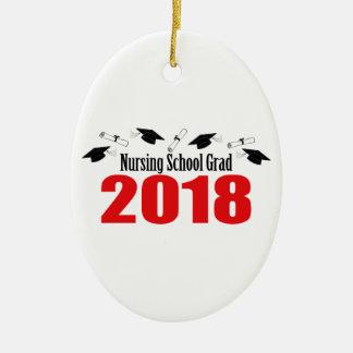 Nursing School Grad 2018 Caps And Diplomas (Red) Ceramic Ornament