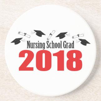 Nursing School Grad 2018 Caps And Diplomas (Red) Coaster