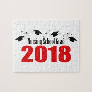Nursing School Grad 2018 Caps And Diplomas (Red) Jigsaw Puzzle