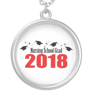 Nursing School Grad 2018 Caps And Diplomas (Red) Silver Plated Necklace