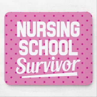 Nursing School Survivor Pink Polka dots Mouse Pad
