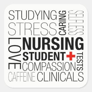 Nursing Student Text Square Sticker