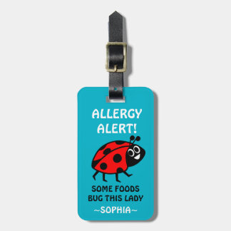 Nut Allergy Ladybug Medical Alert Luggage Tag