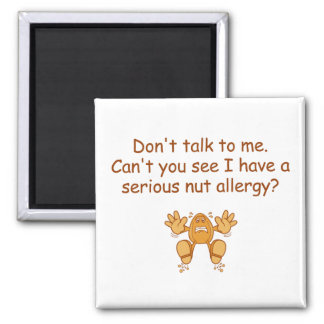 Nut Allergy Square Magnet