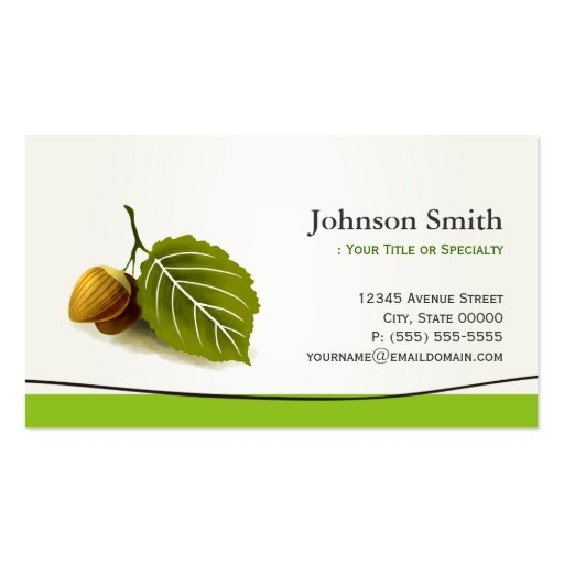 Nut and Leaf - Simple Nature Elegant Business Card Template