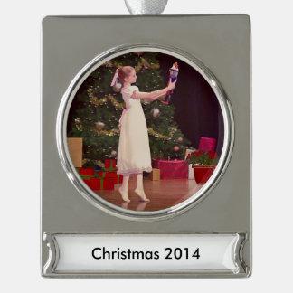 Nutcracker Christmas Ballet, Customizable Text Silver Plated Banner Ornament
