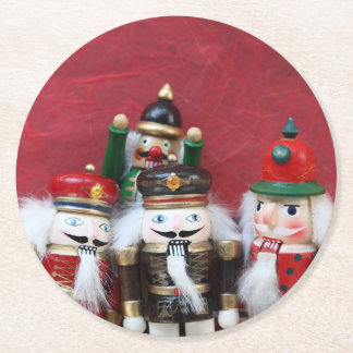 Nutcracker group on red round paper coaster