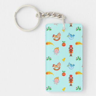 Nutcracker, horse, angel and bird Xmas pattern Key Ring