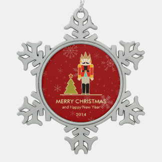 Nutcracker Merry Christmas and Happy New Year 2014 Pewter Snowflake Decoration