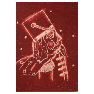 Nutcracker Toy Soldier in Bright Red Wood Poster