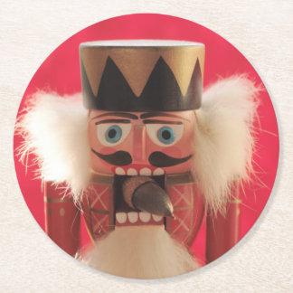 Nutcracker with acorn round paper coaster