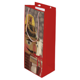 Nutcracker with silver gift wine gift bag