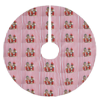Nutcrackers on stripes brushed polyester tree skirt