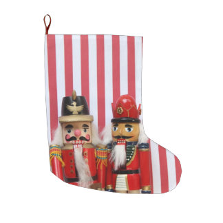 Nutcrackers on stripes large christmas stocking