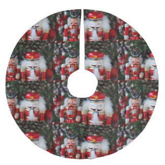 Nutcrackers with holiday background brushed polyester tree skirt