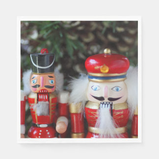 Nutcrackers with holiday background disposable serviettes