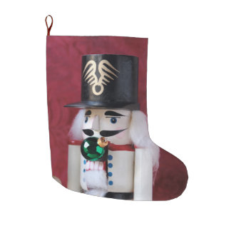 Nutcrackers with ornaments large christmas stocking