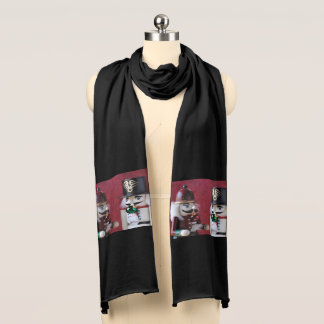 Nutcrackers with ornaments scarf