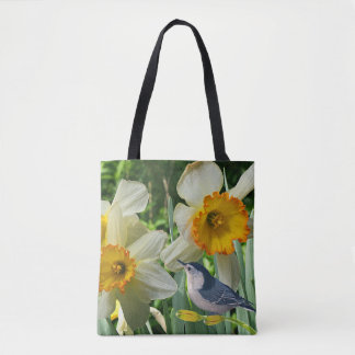 Nuthatch with Spring Daffodils Tote Bag