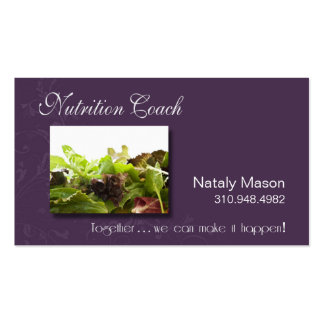 """""""Nutrition Coach"""" Healthy Eating, Weight Loss Business Cards"""