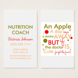 Nutrition Coach Healthy Life Text Design Card
