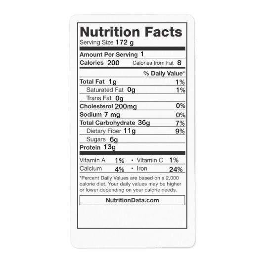 Nutrition Facts Label (Canning, Farmers Market)