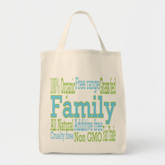 Nutrition minded family grocery tote bag