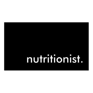 nutritionist. pack of standard business cards
