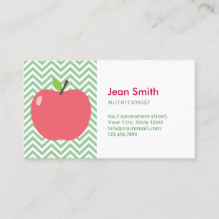 Nutrition business cards zazzle au nutritionist cute apple green chevron stripes business card colourmoves