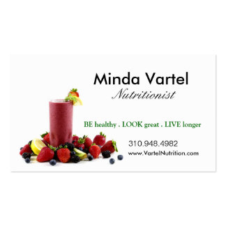 Nutritionist Food Coach, Health, Weight Smoothie Pack Of Standard Business Cards