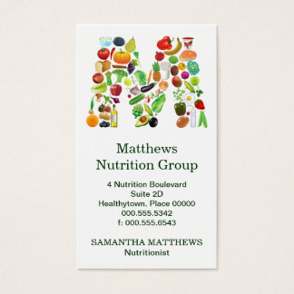 Nutritionist Monogram M Appointment Business Card