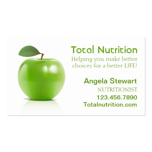Nutritionist with Apple Pack Standard Business Cards