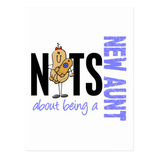 Nuts About Being A New Aunt 1 Blue Postcard
