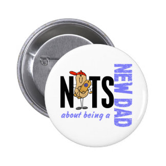 Nuts About Being A New Dad 1 (Blue) 6 Cm Round Badge