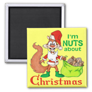 Nuts about Christmas Square Magnet