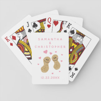 Nuts About Each Other Elegant Pink Wedding Favor Playing Cards
