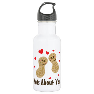 Nuts About You Cute Peanuts Food Pun Humor Cartoon 532 Ml Water Bottle