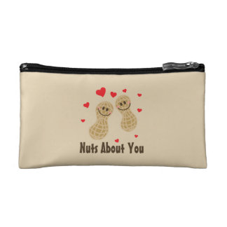 Nuts About You Cute Peanuts Food Pun Humor Cartoon Cosmetics Bags