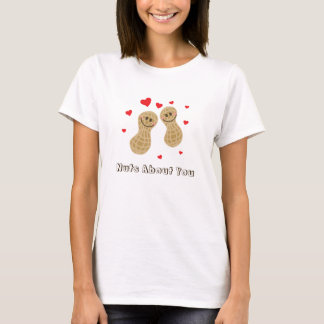 Nuts About You Cute Peanuts Food Pun Humor Cartoon T-Shirt