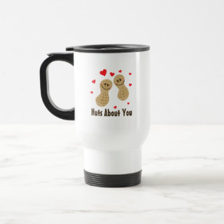 Nuts About You Cute Peanuts Food Pun Humor Cartoon Travel Mug