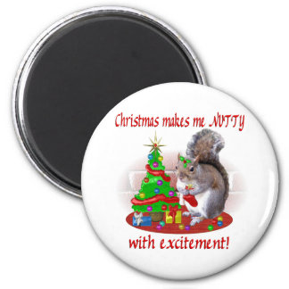 Nutty Christmas Squirrel 6 Cm Round Magnet