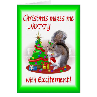 Nutty Christmas Squirrel Greeting Card