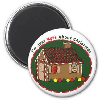 Nutty Gingerbread House 6 Cm Round Magnet