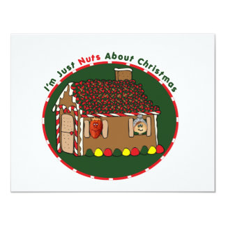 "Nutty Gingerbread House 4.25"" X 5.5"" Invitation Card"