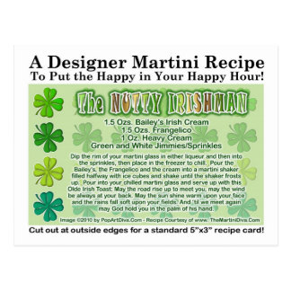Nutty Irishman St. Patrick's Day Martini Card Post Cards
