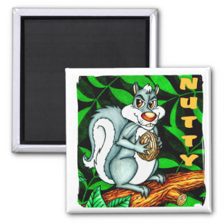 Nutty Squirrel Square Magnet