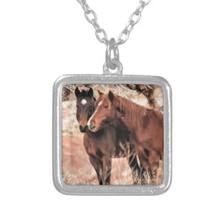 Nuzzling Horses Silver Plated Necklace