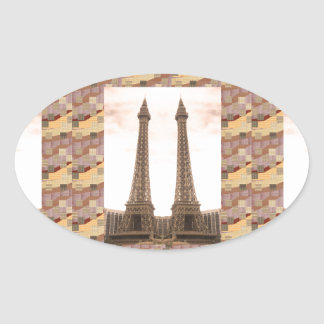 NVN10 NavinJOSHI Landmarks EFFEL Tower Las Vegas Oval Sticker